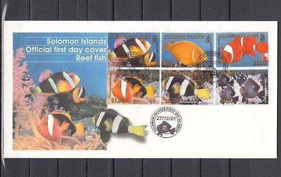 Solomon Is Scott cat. 921-926. Reef Fishes issue. First Day Cover