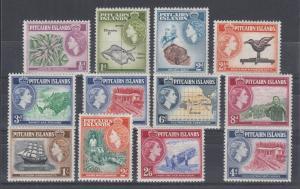 Pitcairn Islands Sc 20-31 MNH. 1957 QEII bicolor definitives, 2 complete sets
