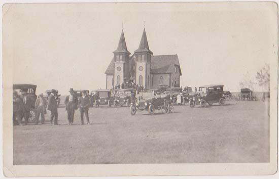 Actual Photo Post Card Probably Canadian Showing Many Autos (1915?)