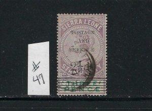 SIERRA LEONE SCOTT #49 1897 OVERPRINT/SURCHARGE 2 1/2 ON 3P - USED