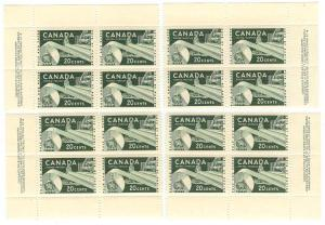 Canada - 20c Paper Industry mint MS Pl. 4 blocks #362