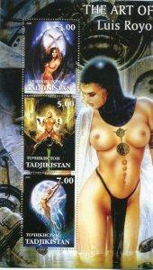 Tajikistan 2002 THE ART OF LUIS ROYO Pop Art Nudes s/s Perforated Mint (NH)