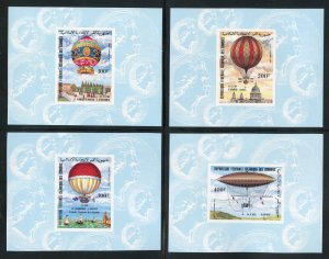 Comoro Is. C122-25  MNH Hot Air Balloons Imperf Souvenir Sheets from 1983