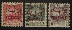 Jordan 286A-C. 1953 10m-20m Postage overprints, used