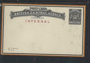 BRITISH CENTRAL AFRICA  COVER (P0210B)  ARMS 1D PSC INTERNAL UNUSED