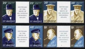 St Vincent 389-92 gutter pairs MNH Winston Churchill