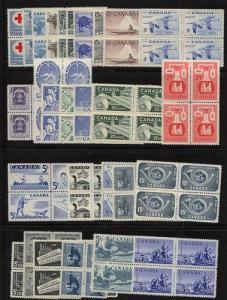 Canada - 1952-1958 Range of 28 Different Blocks mint