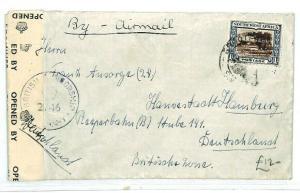 SOUTH WEST AFRICA Grootfontein GERMANY Hamburg CENSOR WW1{samwells-cover} CW220
