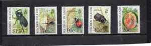 SOLOMON ISLANDS 1991 FAUNA INSECTS SET OF 5 STAMPS MNH