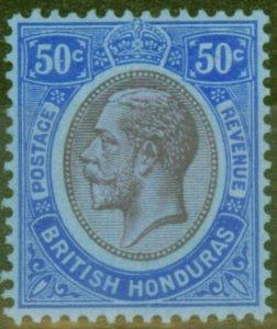 British Honduras 1923 50c Purple & Blue-Blue SG134 V.F Very Lightly Mtd Mint