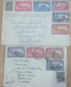 GIBRALTAR 1939 and 1942 (FPO CENSORED) COVERS GVI ..SEE SCANS