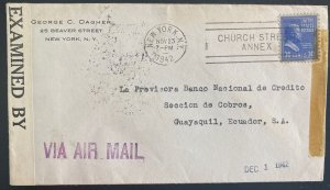 1942 New York USA Censored Airmail cover To National Bank Guayaquil Ecuador