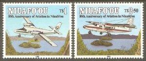 TONGA NIUAFO'OU Sc# 158 - 159 MNH FVF Set2 Airplanes 10th Anniv Aviation
