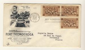 US - 1955 - Scott 1071 FDC - 200th Annivrsary Fort Ticonderoga - block of 3