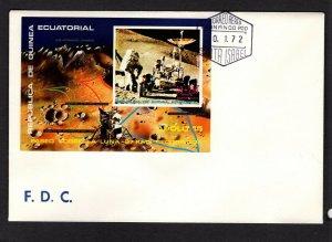 Equatorial Guinea  #7211 (1972 Apollo 15 250+50e imperforate sheet)  FDC