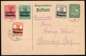 GERMANY STAMP BAVARIA BAYERN STAMPED POST CARD WITH STAMPS