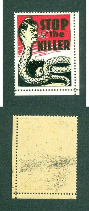 USA. Patriotic WWII Poster Stamp MNH. Snake,Hitler. STOP The Killer