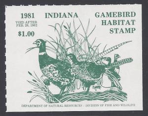 INH-2 $1.00 Pheasant Pair 1981 Indiana Mint NH