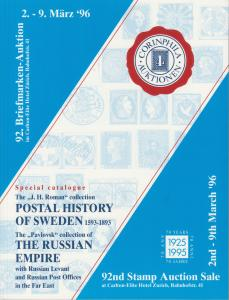Postal History of Sweden; Russian Empire Collections. Corinphila 92nd Auction.