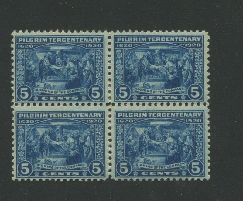 1920 US 5 Cent Postage Stamp 550 Mint Hinged F VF Original Gum Block Of 4 HipStamp