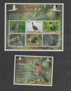 BHUTAN: 2018 N I **Beautiful PHEASANTS OF  BHUTAN**/ Sheet of 6 & SS / MNH