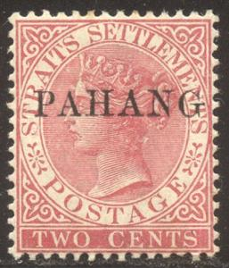 MALAYA / PAHANG #1 Mint NH - 1889 2c Rose