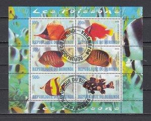 Burundi, 2009 issue. Tropical Fish sheet of 6. #2 Canceled. ^