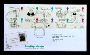 Great Britain Sc# 1643-1652a Royal Mail First Day Cover Greetings Stamps 1996-01