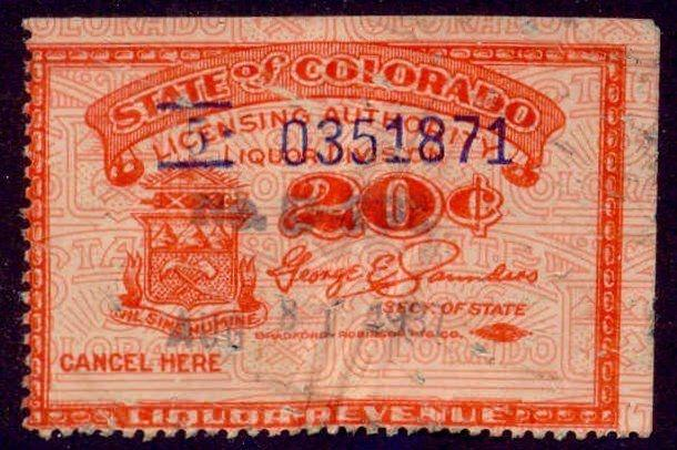 Colorado State Revenue Stamp 20c Liquor Tax # WL38