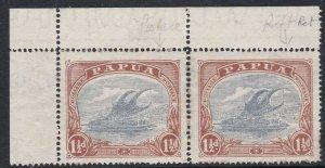 PNG1003) Papua 1916-31 Bi-coloured Lakatois 1½d Pale grey-blue & brown top left