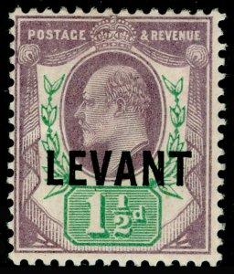 BRITISH LEVANT SGL3, 1½d dull purple & green, M MINT.