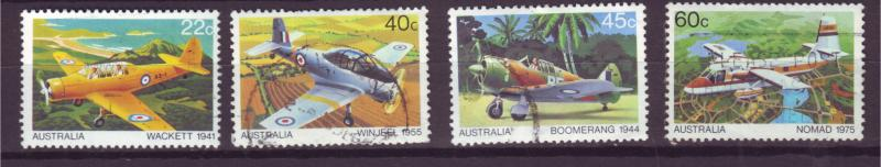 J16481 JLstamps 1980 australia set used #759-62 airplanes