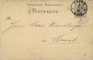 Germany 5pf Numeral Postal Card 1886 Thorn to Memel.