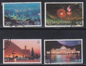 Hong Kong # 415-418, Views  of Hong Kong by Night, Used Set, 1/2