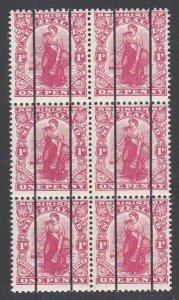 NEW ZEALAND 1d Dominion MNH block of 6 'Dickie Coils' MNH...................B890