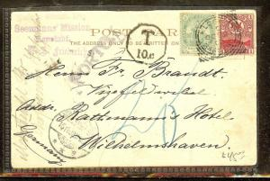 CAPE OF GOOD HOPE (P0206B) 1902  PPC  PARLIAMENT   1/2D+ 1D  TO GERMANY TAXED