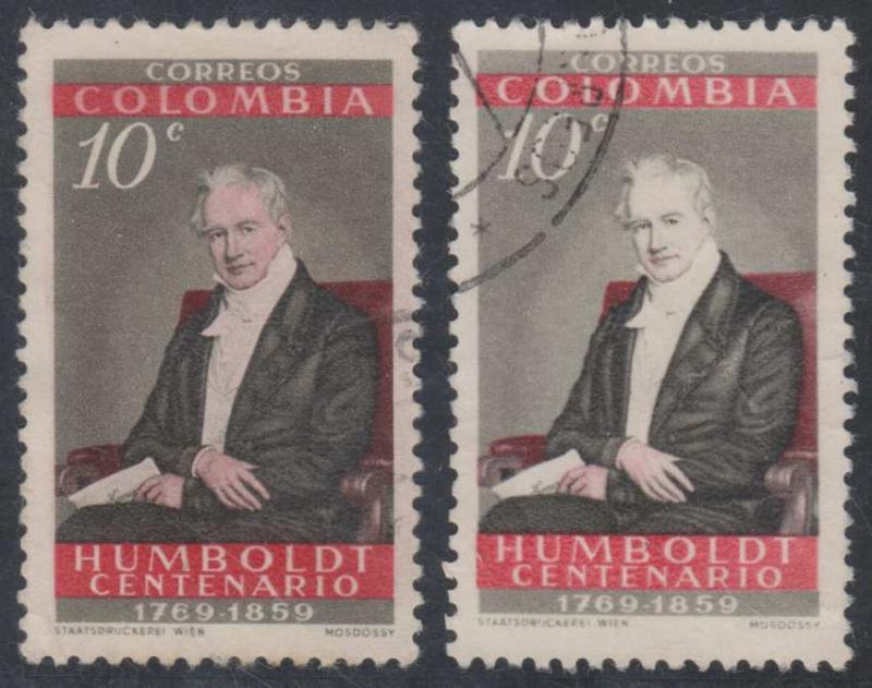 COLOMBIA Sc 714 Temprano 965 & 965d VARIETY WHITE FACE USED F,VF UNCOMMON