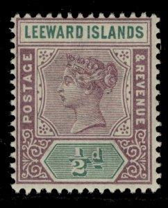 LEEWARD ISLANDS QV SG1, ½d dull mauve and green, NH MINT.