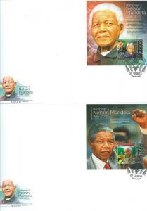 NIGER NELSON MANDELA IN MEMORIAM AND TRIBUTE SOUVENIR SHEET FDC SET OF TWO
