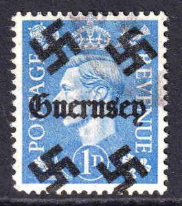 GREAT BRITAIN 1p GUERNSEY OVERPRINT USED VF SOUND