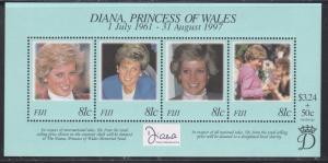 Fiji # 820, Diana, Princess of Wales, Souvenir Sheet, NH 1/2 Cat..