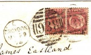 GB HALFPENNY Pair{2} p12 Cover Surrey Croydon Epsom ½d Red 1875{samwells}15.2