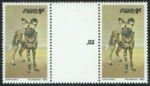 SOUTH WEST AFRICA 1980 WILD DOG 2C GUTTER PAIR MNH **