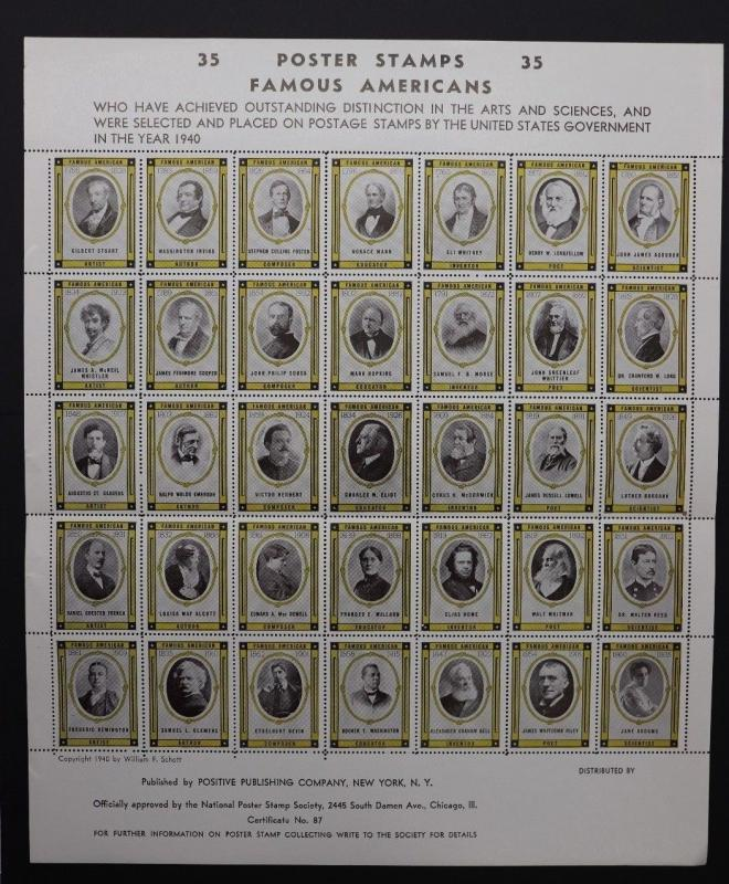 Famous Americans 35 poster stamp society Mint souvenir sheet 1940 NPSS 87 art DM