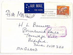 Australia UNDERPAID AIR Violet Cachet Adelaide Devon 1982{samwells-covers}VV389