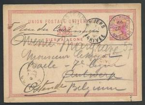 SIERRA LEONE 1899 1d postcard commercially used to Belgium.................56997