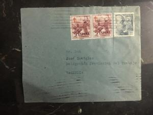 1952 Bilbao Spain Official cover to The Provincial Work Delegation Valencia