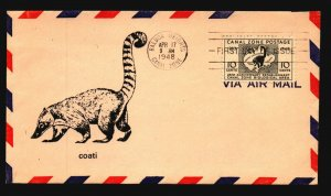 Canal Zone SC# 141 FDC / Single / Cacheted - L1595