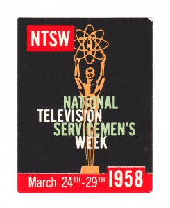 REKLAMEMARKE POSTER STAMP NTSW NATIONAL TELEVISION SERVICEMEN'S WEEK 1958