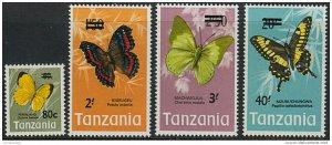 Tanzania 1975 butterflies fauna overprint ! set 4v MNH